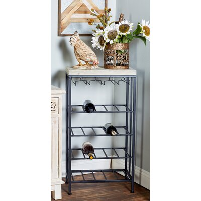 Wilcoxen Rustic 4-Tiered Tabletop Wine Bottle Rack Finish: Black