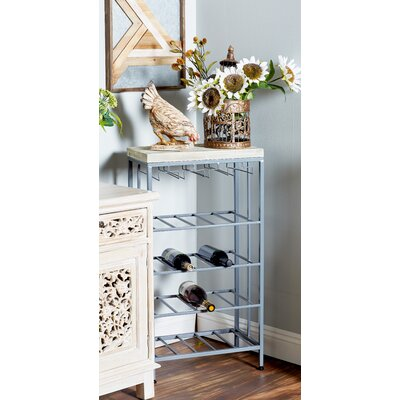 Wilcoxen Rustic 4-Tiered Tabletop Wine Bottle Rack Finish: Gray