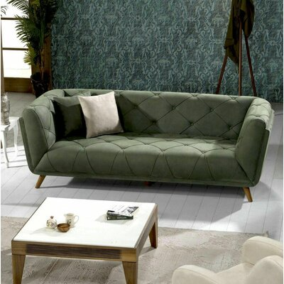 Danos Chesterfield Loveseat Upholstery: Wheatgrass