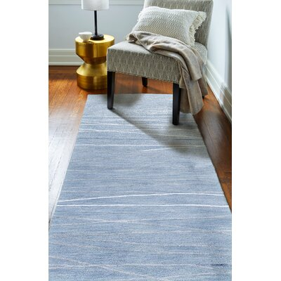 Luczak Hand-Tufted Light Blue Area Rug Rug Size: Runner 26 x 8
