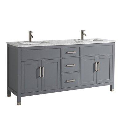 Peralez Modern 72 Double Bathroom Vanity Set Base Finish: Gray