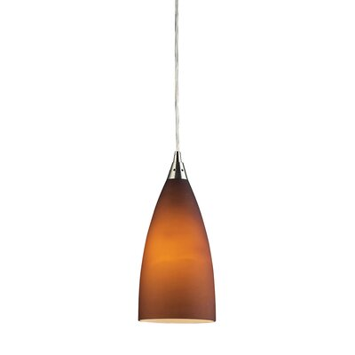 Block 1-Light Mini Pendant Finish: Satin Nickel and Amber Glass