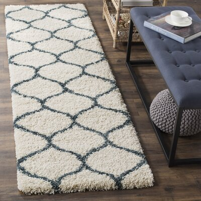 Hampstead Ivory/ Slate Blue Area Rug Rug Size: Runner 23 x 12