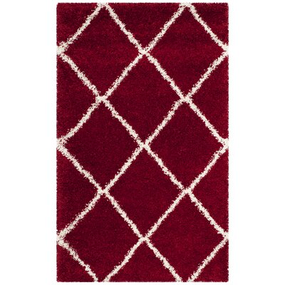 Humberto Shag Red/White Area Rug Rug Size: Rectangle 2 x 3