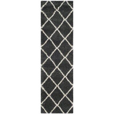 Humberto Shag Dark Grey/Ivory Area Rug Rug Size: Runner 23 x 12