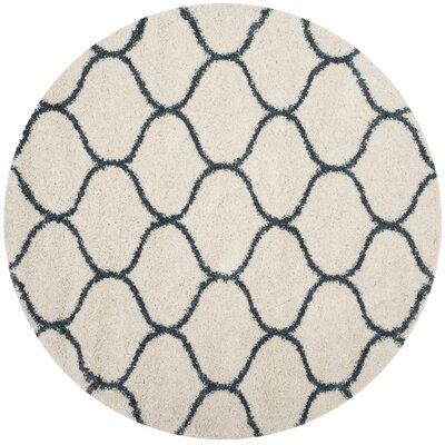 Hampstead Ivory/ Slate Blue Area Rug Rug Size: Round 5
