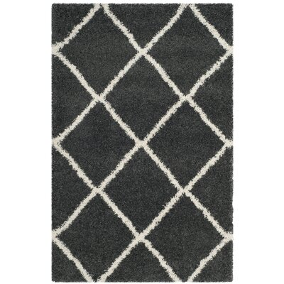 Humberto Shag Dark Grey/Ivory Area Rug Rug Size: Rectangle 2 x 3