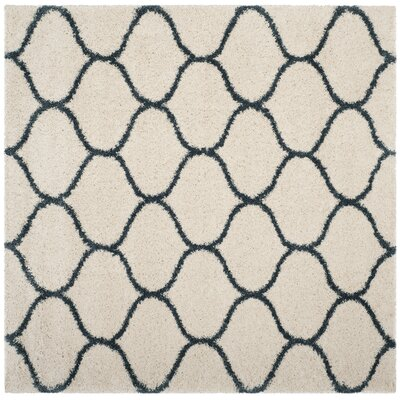 Hampstead Ivory/ Slate Blue Area Rug Rug Size: Square 5
