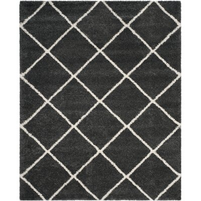 Humberto Shag Dark Grey/Ivory Area Rug Rug Size: Rectangle 9 x 12
