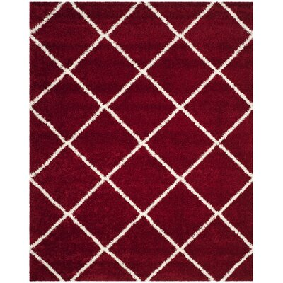 Humberto Shag Red/White Area Rug Rug Size: Rectangle 9 x 12
