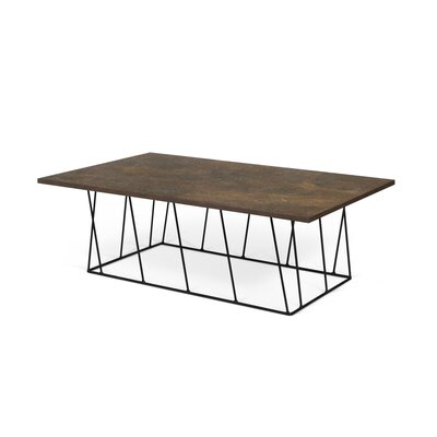 Sligh Coffee Table Base Color: Black Lacquered Steel, Top Color: Rusty Look