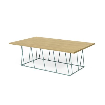 Grimes Coffee Table Base Color: Sea Green Lacquered Steel, Top Color: Wild Oak