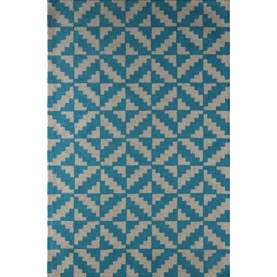 Hisey Hand-Tufted Frost Gray/Lapis Area Rug Rug Size: Rectangle 5 x 8