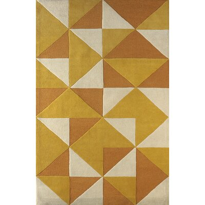 Lueras Hand-Tufted Gold/Ivory Area Rug Rug Size: Rectangle 5 x 8