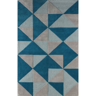 Lueras Hand-Tufted Wool Blue/Gray Area Rug Rug Size: Rectangle 4 x 6