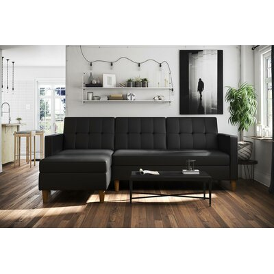 Stigall Reversible Sleeper Sectional Upholstery: Black