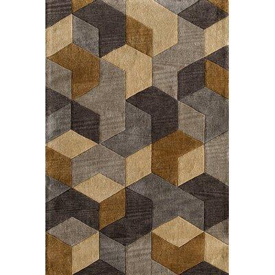 Abaokoro Gold/Gray Area Rug Rug Size: 76 x 96