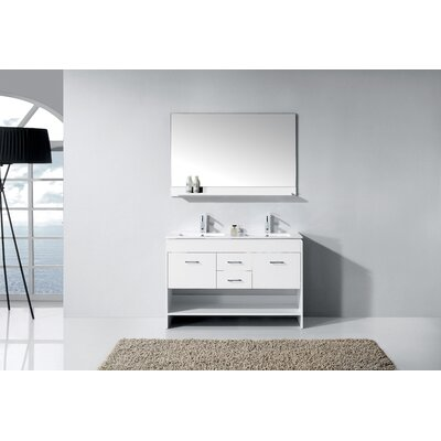 Frausto 48 Double Bathroom Vanity Set with Mirror Base Finish: White
