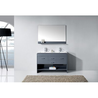 Frausto 48 Double Bathroom Vanity Set with Mirror Base Finish: Gray