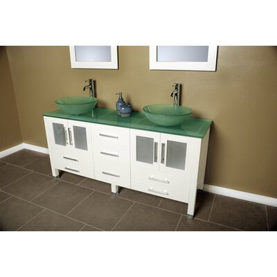 Meserve Solid Wood and Glass Vessel 71 Double Bathroom Vanity Set with Mirror