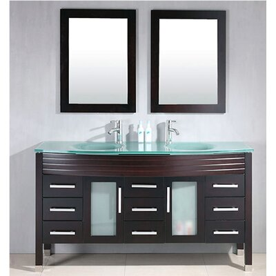 Meserve Wood and Glass 63 Double Bathroom Vanity Set with Mirror Base Finish: Espresso