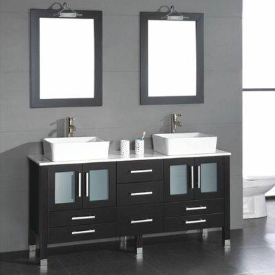 Meserve 65 Espresso Solid Wood Double Bathroom Vanity Set with Mirror