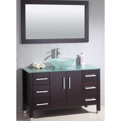 Meserve Solid Wood Glass Vessel 48 Single Bathroom Vanity Set with Mirror