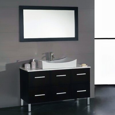 Meserve Wood and Porcelain� 47 Single Bathroom Vanity Set with Mirror
