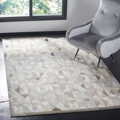 Wylie Leather Hand Tufted Gray Area Rug Rug Size: Rectangle 5 x 8