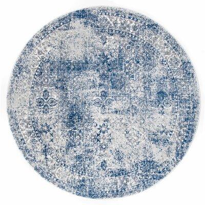 Citium Blue Area Rug Rug Size: Round 5