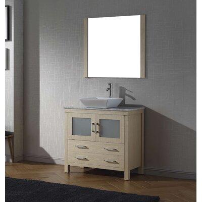 Cartagena 30 Single Bathroom Vanity Set with White Marble Top and Mirror Base Finish: Light Oak