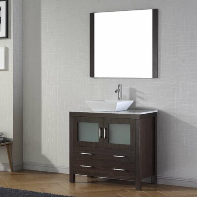Cartagena 30 Single Bathroom Vanity Set with White Marble Top and Mirror Base Finish: Espresso