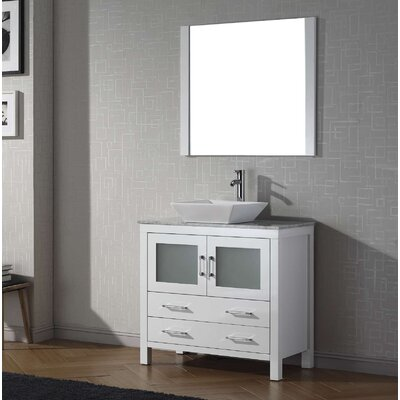 Cartagena 30 Single Bathroom Vanity Set with White Marble Top and Mirror Base Finish: White
