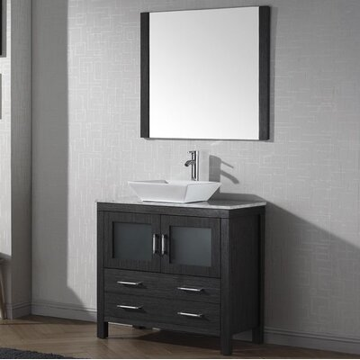 Cartagena 30 Single Bathroom Vanity Set with White Marble Top and Mirror Base Finish: Zebra Gray