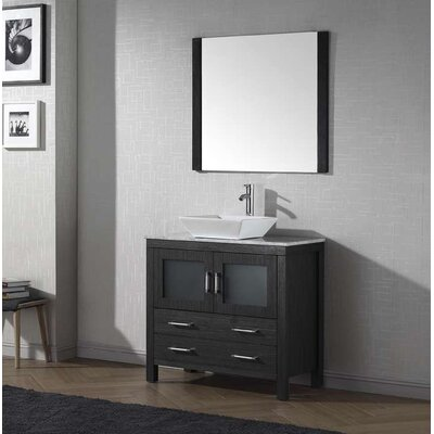 Cartagena 32 Single Bathroom Vanity Set with White Marble Top and Mirror Base Finish: Zebra Gray