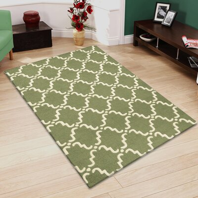 Dewar Hand-Hooked Green/White Area Rug