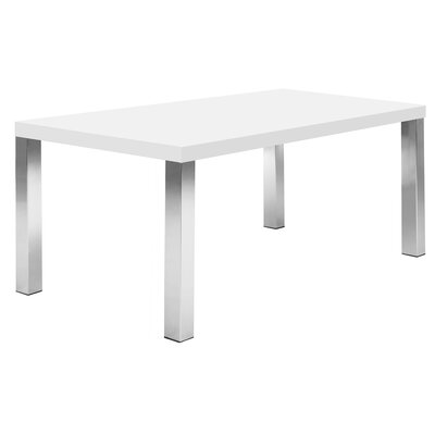 Durkee Dining Table Top Finish: Pure White / Chrome, Size: 28 H x 63 L x 35 W