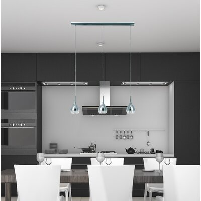 Thibodeaux 3-Light Kitchen Island Pendant Shade Color: Silver