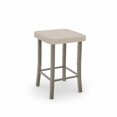 Caudillo 30 Bar Stool Color: Matte Light Gray, Upholstery: Beige Polyurethane