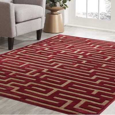 Teague Red/Brown Area Rug Rug Size: Rectangle 710 x 112