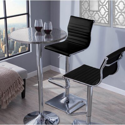 Summer Adjustable Height Swivel Bar Stool Upholstery: Black