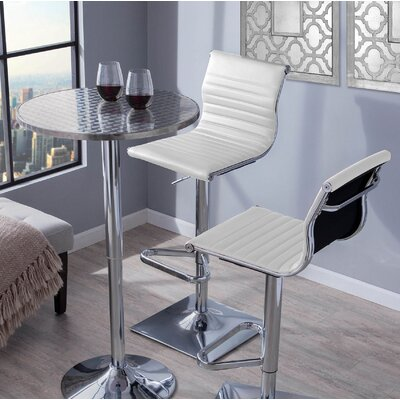 Summer Adjustable Height Swivel Bar Stool Upholstery: White