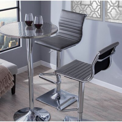 Summer Adjustable Height Swivel Bar Stool Upholstery: Gray