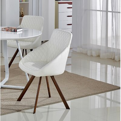 Steveson Upholstered Dining Chair (Set of 2) Color: White