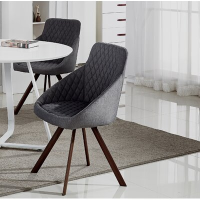 Goodspeed Upholstered Dining Chair (Set of 2) Upholstery Color: Dark Gray