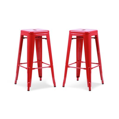 Vogan Bar Stool Finish: Red