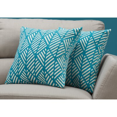 Darren Geometric Design Throw Pillow Color: Teal