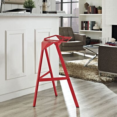 Albaugh Bar Stool Color: Red