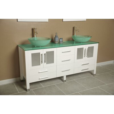 Meserve 64 Solid Wood Double Bathroom Vanity Set with Mirror