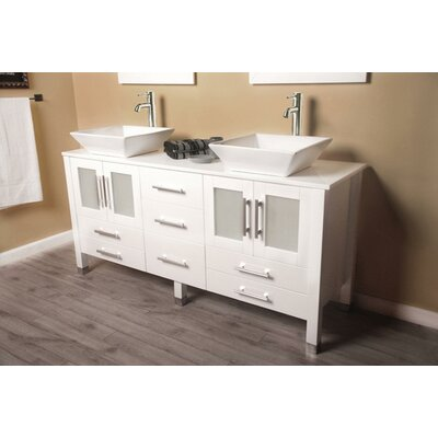 Meserve Solid Wood Vanity 64 Double Bathroom Vanity Set with Mirror